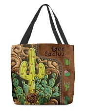 Love Cactus Leather Pattern Print All-over Tote back