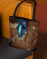 Dragon Christmas Leather Pattern Print All-over Tote aos-all-over-tote-lifestyle-front-02