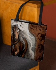 Love Horse Leather Pattern Print All-over Tote aos-all-over-tote-lifestyle-front-02