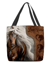 Love Horse Leather Pattern Print All-over Tote front