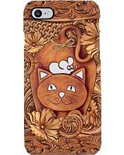 Cat Faux wood print Phone Case i-phone-8-case