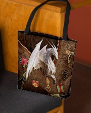 Christmas Leather Pattern Print Tote All-over Tote aos-all-over-tote-lifestyle-front-02