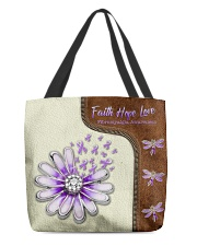 Faith Hope Love Leather Pattern Print All-over Tote front