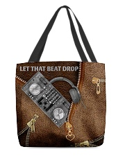 Let that beat drop Leather pattern print All-over Tote front