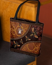 Bee A Queen Leather Pattern Print All-over Tote aos-all-over-tote-lifestyle-front-02