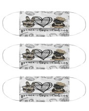 Cat Cooking Peace Love Cloth Face Mask - 3 Pack front