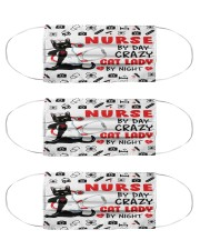 Nurse By Day - Crazy Cat Lady By Night mas Cloth Face Mask - 3 Pack front