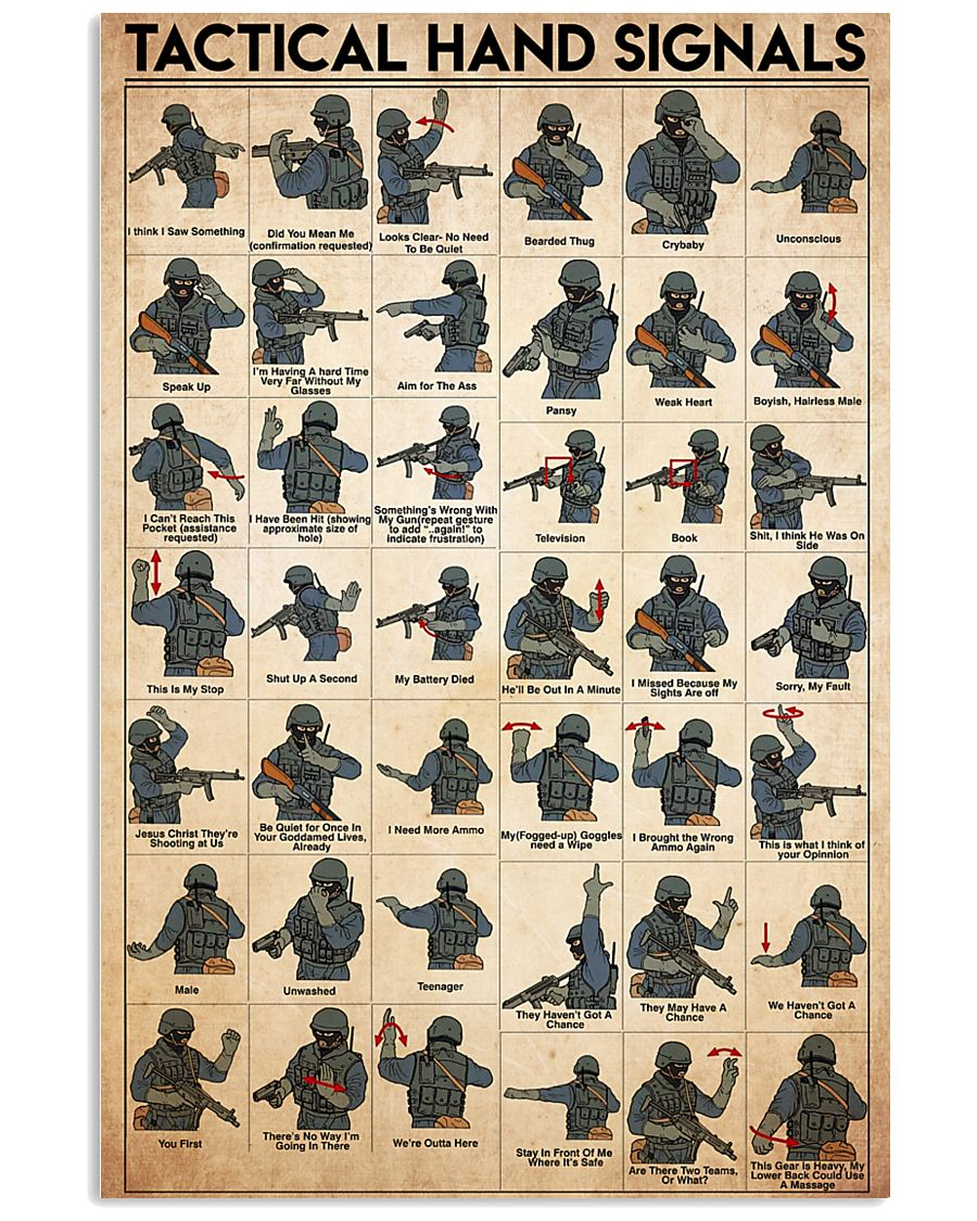Military Tactical Hand Signals 24x36 Poster