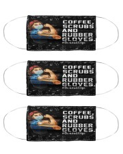 dental Coffee Scrubs and Rubber Gloves mas Cloth Face Mask - 3 Pack front