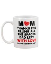 Mom filling Spaces Dad Left Mug back
