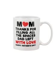 Mom filling Spaces Dad Left Mug front