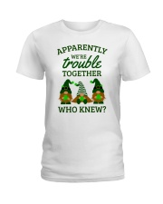 Irish Gnomies Trouble Together Ladies T-Shirt thumbnail