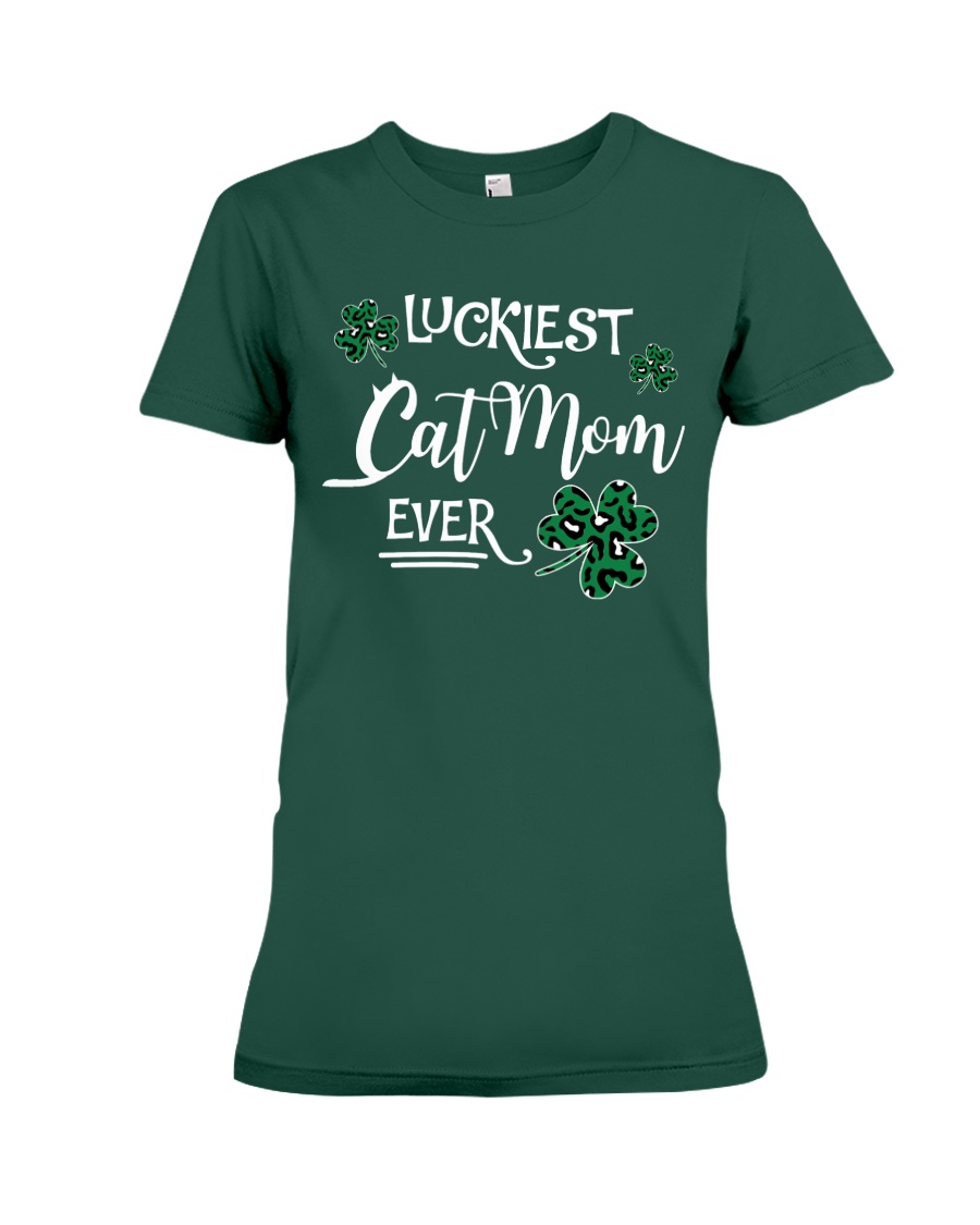 Luckiest Cat Mom  Premium Fit Ladies Tee