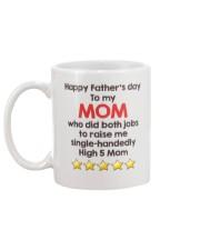 High 5 Mom On Fathers Day Mug back