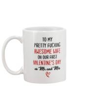 Pretty Awesome Wife First Valentine Mug back