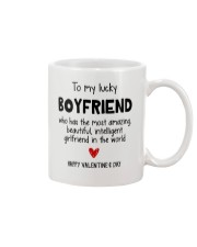 To My Lucky Boyfriend Mug front