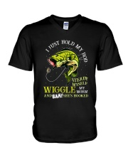 Hold Rod And Wiggle Worm V-Neck T-Shirt thumbnail