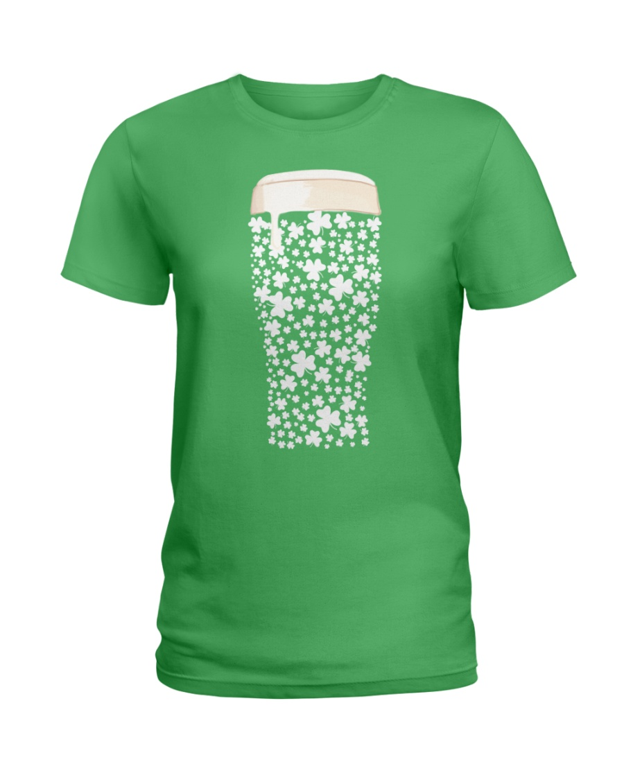 Beer Glass Shamrocks Fill Ladies T-Shirt