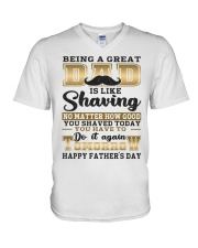 Being A Dad Is Like Shaving V-Neck T-Shirt thumbnail