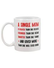 Single Mom Braver Stronger Smarter Mug back