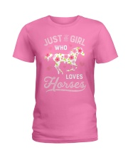 Just A Girl Who Loves Horses Horse Farm Farmer Ladies T-Shirt front