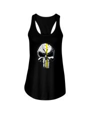 Thin Yellow Line Skull T-shirt Ladies Flowy Tank thumbnail