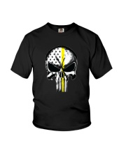 Thin Yellow Line Skull T-shirt Youth T-Shirt thumbnail
