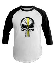 Thin Yellow Line Skull T-shirt Baseball Tee thumbnail
