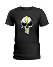 Thin Yellow Line Skull T-shirt Ladies T-Shirt thumbnail