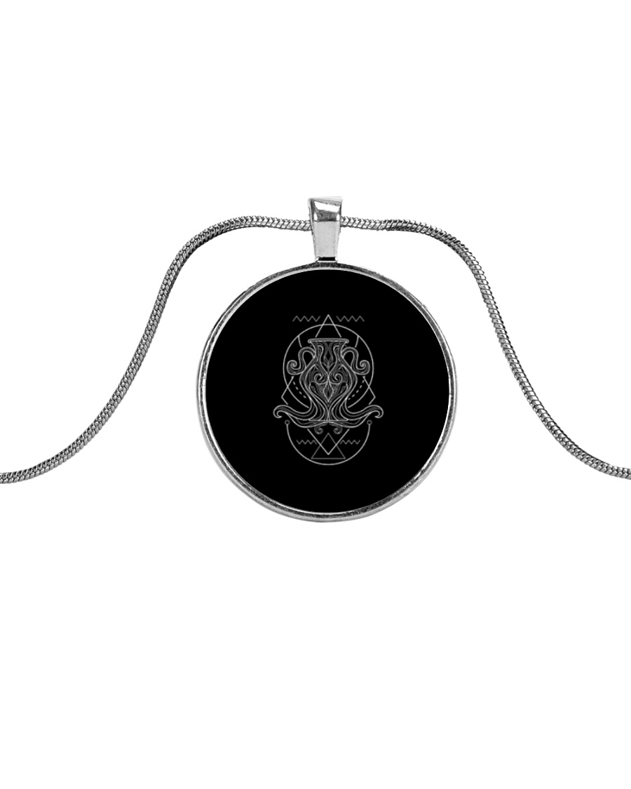 Aquarius Sigh Metallic Circle Necklace