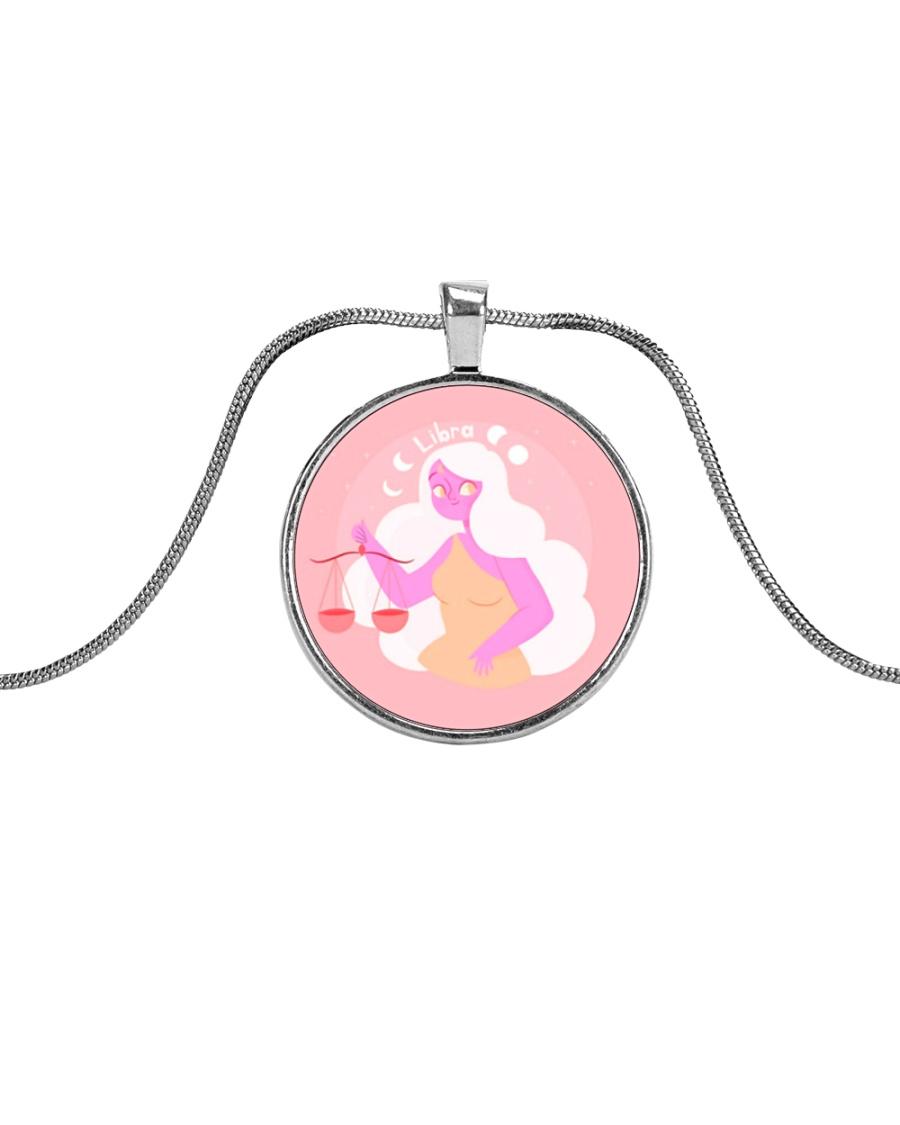 Libra Sign Metallic Circle Necklace