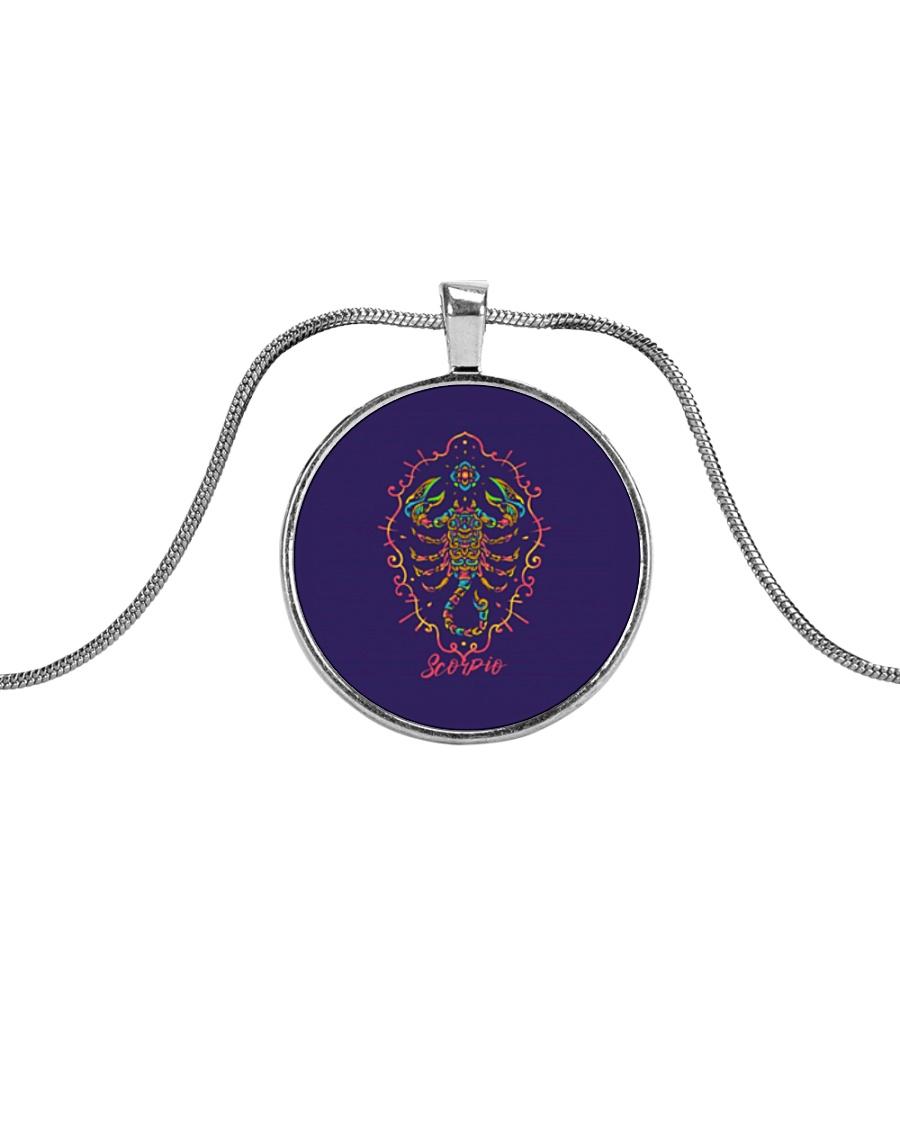 Scorpio Sign Metallic Circle Necklace