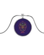 Scorpio Sign Metallic Circle Necklace front