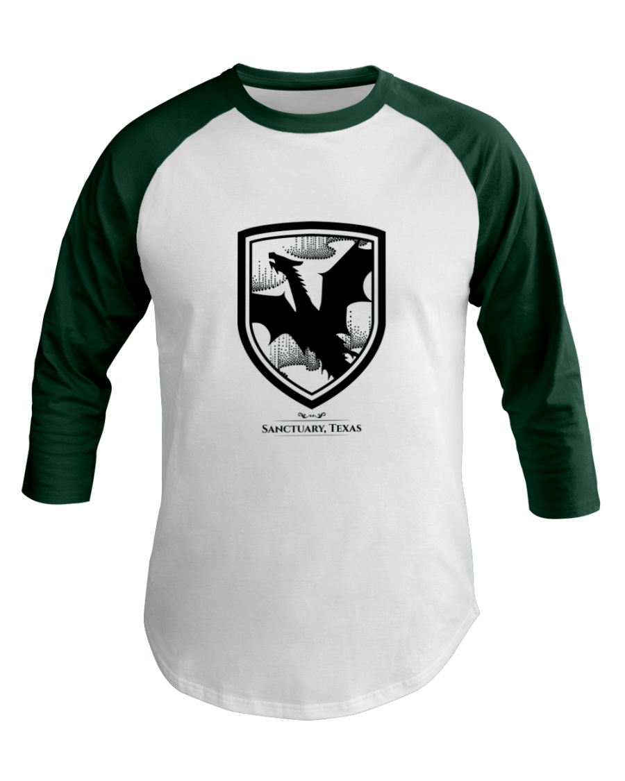 Fly with the dragons of Sanctuary Texas Baseball Tee