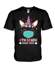 Quarantine Unicorn 4th Grade V-Neck T-Shirt thumbnail