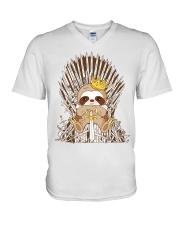 Winter Sloth V-Neck T-Shirt thumbnail