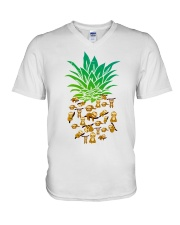 Sloth Pineapple V-Neck T-Shirt thumbnail