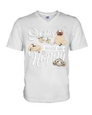 Sloth Make Me Happy V-Neck T-Shirt thumbnail