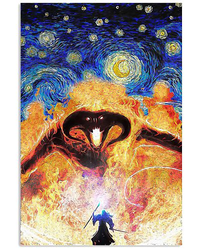 Fire demon Starry night Van Gogh poster