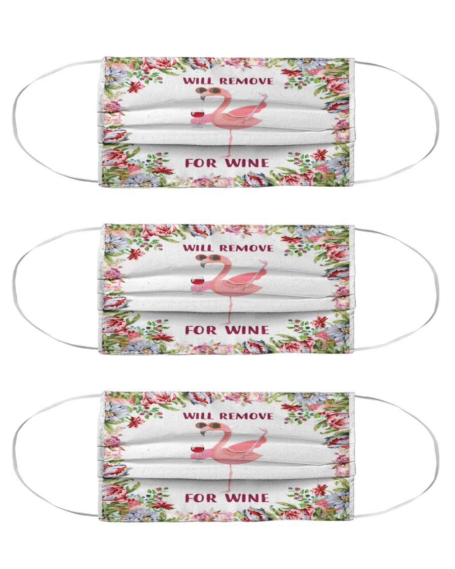 Flamingo will remove for wine 3d face mask Cloth Face Mask - 3 Pack