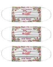 Flamingo will remove for wine 3d face mask Cloth Face Mask - 3 Pack front