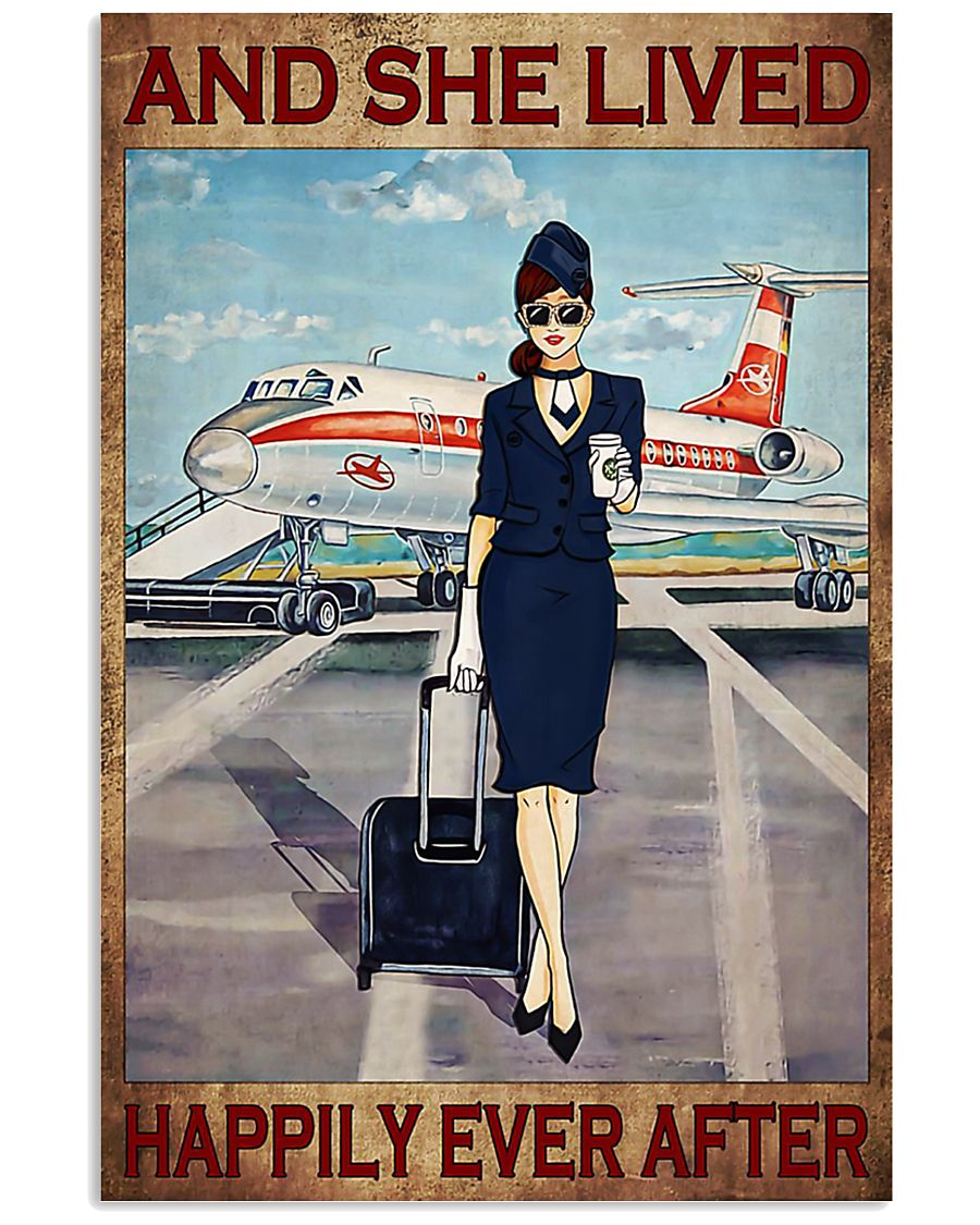 Flight attendance she lived happily ever Brown 24x36 Poster