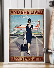 Flight attendance she lived happily ever Brown 24x36 Poster lifestyle-poster-4