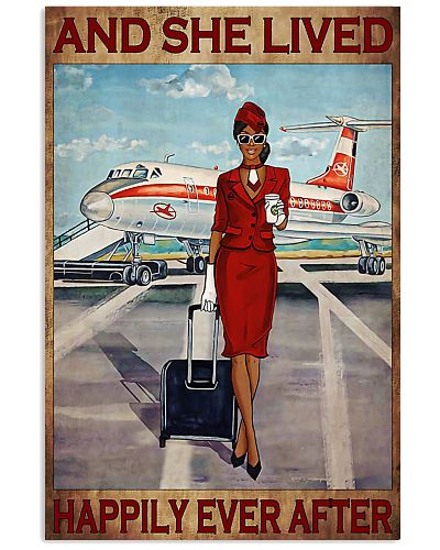 Poster Flight attendance she live happily Red