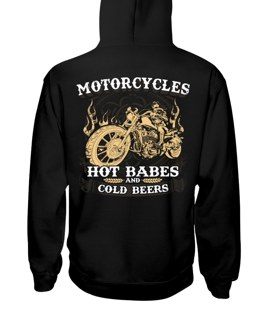 Motorcycle Hot Babes Cold Beers Biker Hooded Sweatshirt