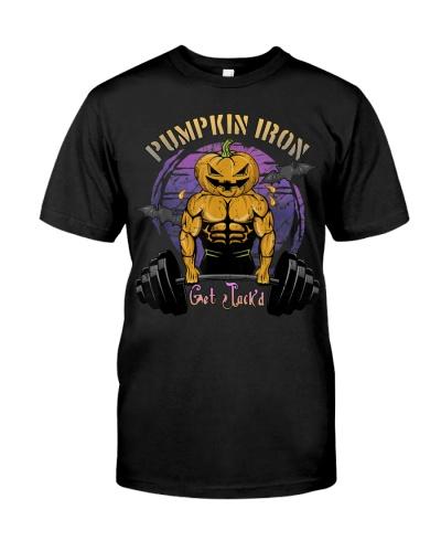 Mens Halloween Gym Workout Pumpkin Iron T-Shirt