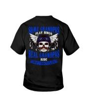 Motorcycle Skull Blue Grandfather Papa Youth T-Shirt thumbnail