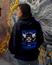 Motorcycle Skull Blue Grandfather Papa Hooded Sweatshirt lifestyle-unisex-hoodie-back-1