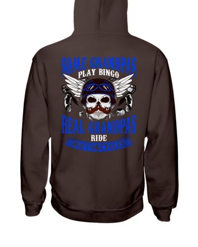 Motorcycle Skull Blue Grandfather Papa