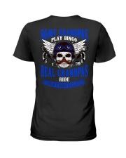Motorcycle Skull Blue Grandfather Papa Ladies T-Shirt thumbnail